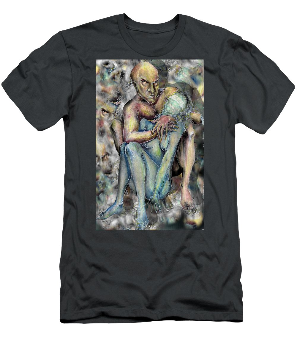 Demons Love Passion Control Posession Woman Lust Men's T-Shirt (Athletic Fit) featuring the mixed media My Precious by Veronica Jackson