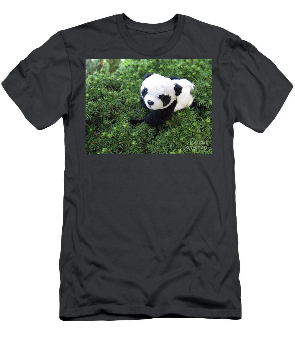 Baby Panda Men's T-Shirt (Athletic Fit) featuring the photograph My Soft Green Bed by Ausra Huntington nee Paulauskaite