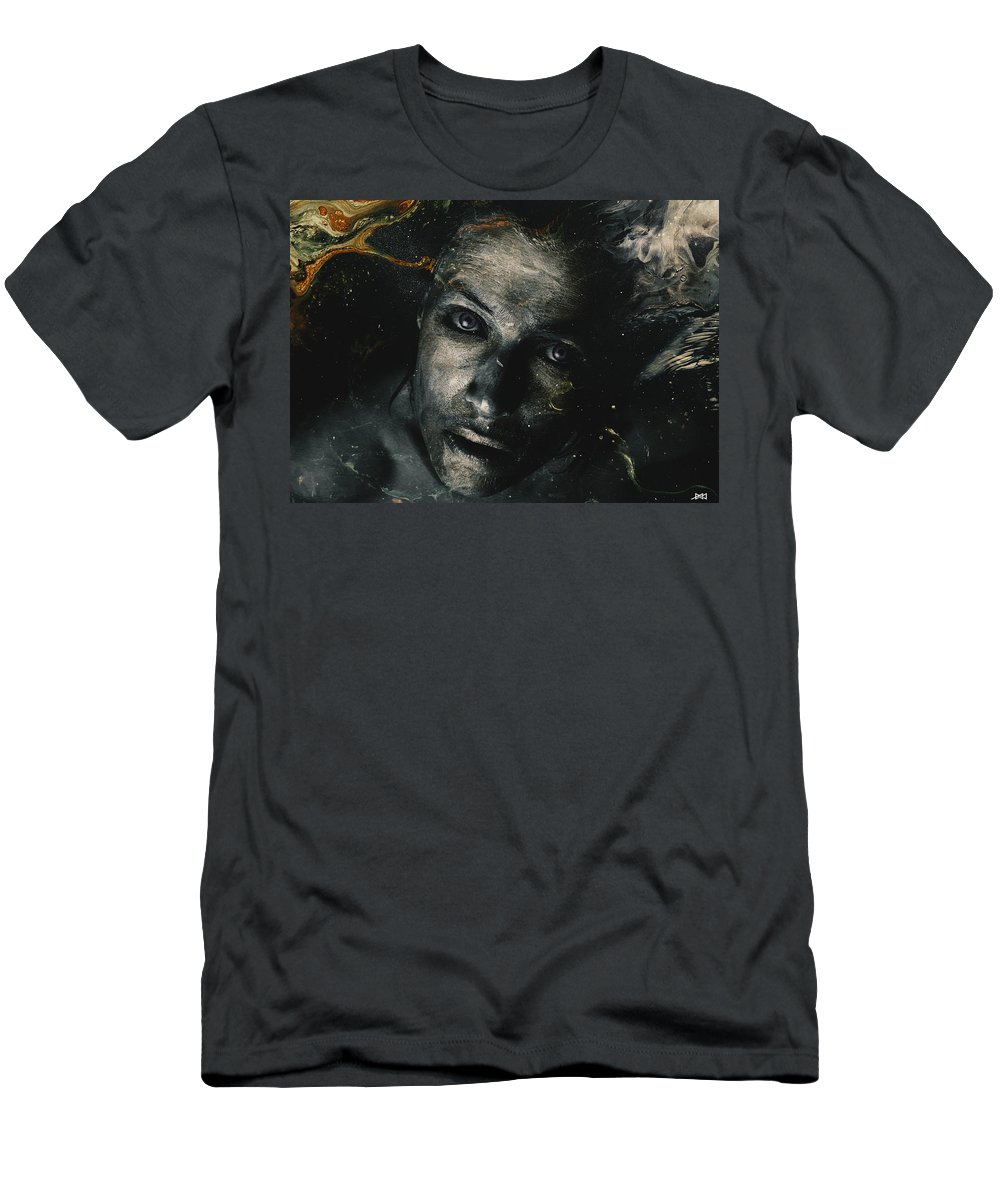 Mixed Media _ Photo Manipulation _ Dark _ Sad _ Eyes _ Golden Men's T-Shirt (Athletic Fit) featuring the mixed media My Soul by Mohamed Said
