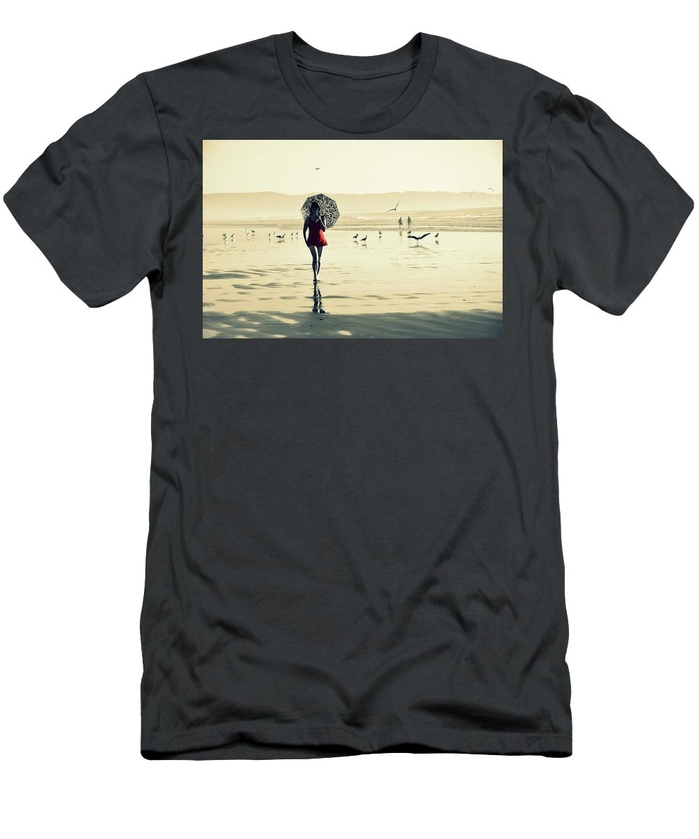 Beach Men's T-Shirt (Athletic Fit) featuring the pyrography My Way by Kristy Williams