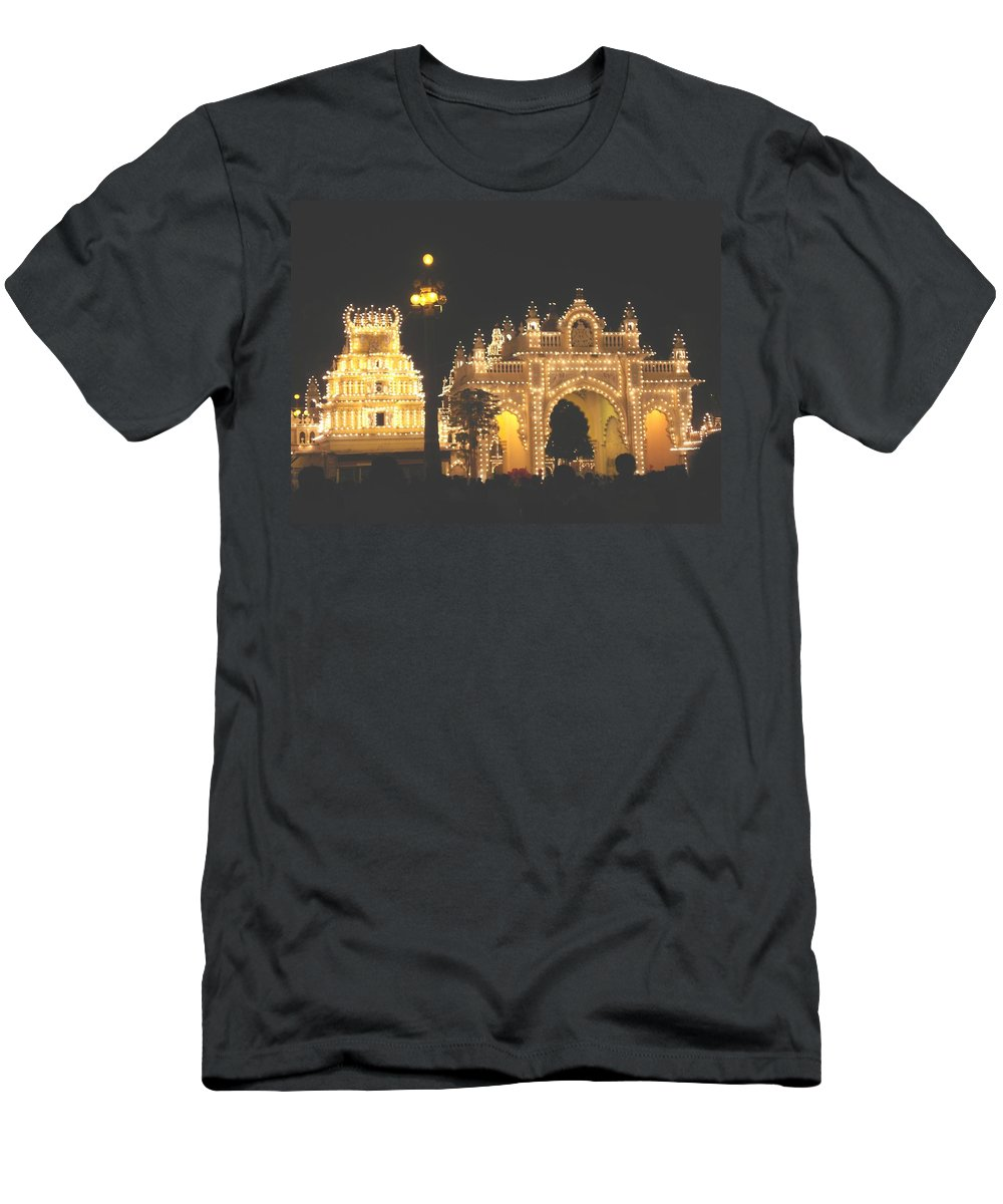Mysore Men's T-Shirt (Athletic Fit) featuring the painting Mysore Palace Main Gate Temple Gloriously Lit At Night by Usha Shantharam
