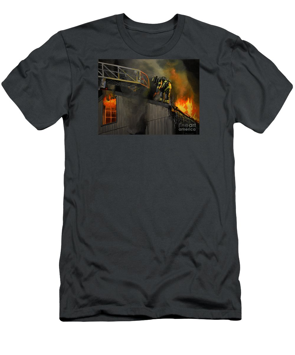 Firefighting T-Shirt featuring the painting Mystic Fire by Paul Walsh
