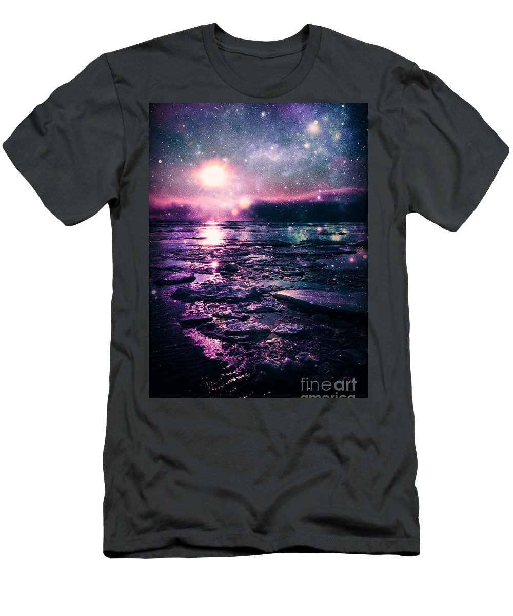 Water Men's T-Shirt (Athletic Fit) featuring the digital art Mystic Lake by Johari Smith