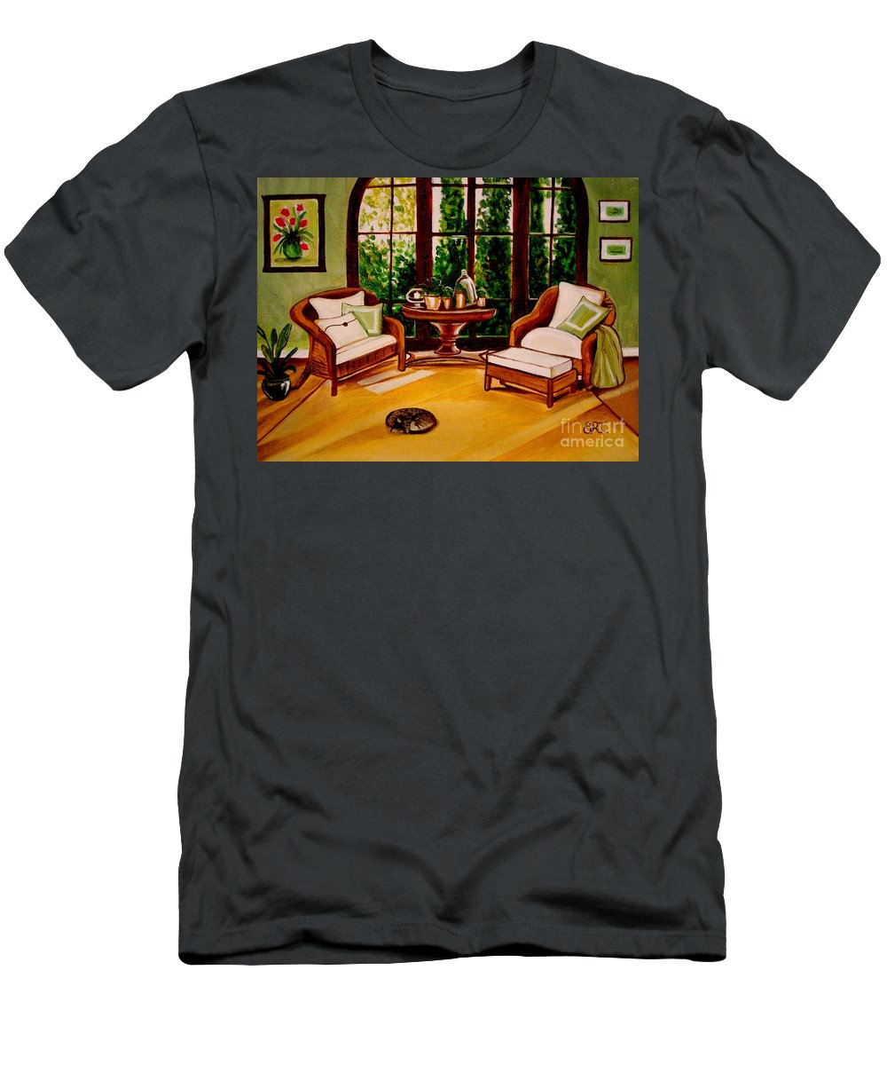 Cats Men's T-Shirt (Athletic Fit) featuring the painting Nap Time by Elizabeth Robinette Tyndall