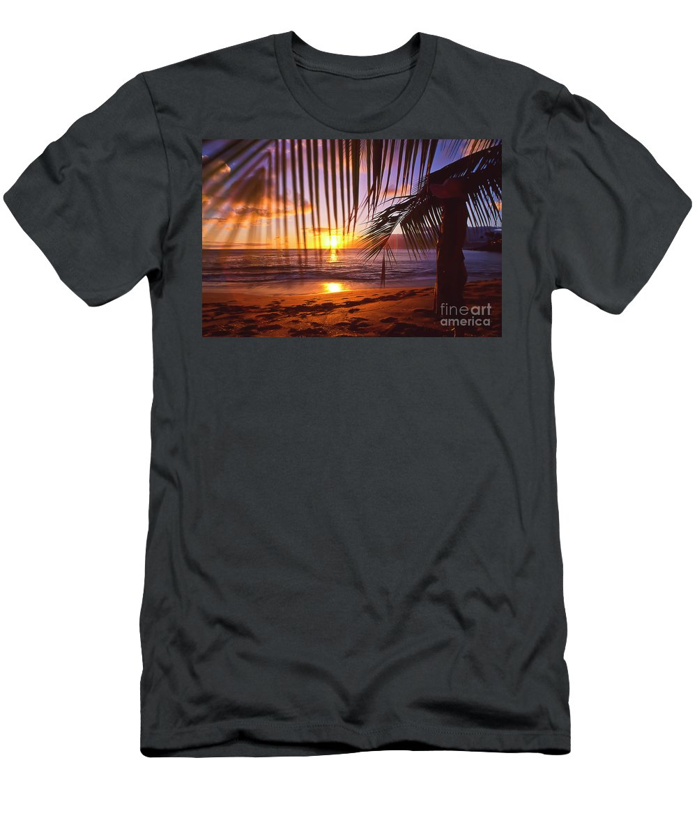 Sunset Men's T-Shirt (Athletic Fit) featuring the photograph Napili Bay Sunset Maui Hawaii by Jim Cazel