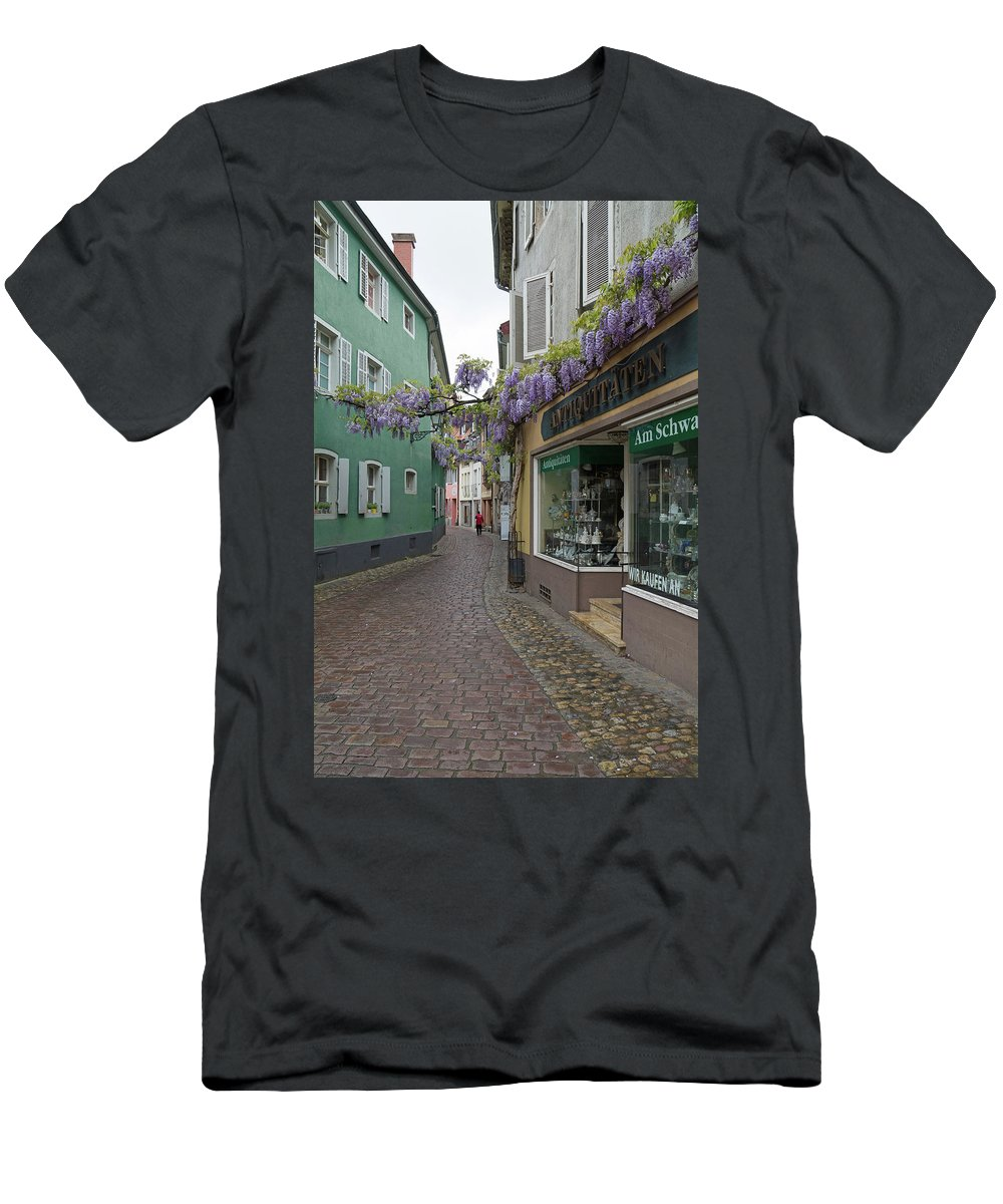 Freiburg Germany Men's T-Shirt (Athletic Fit) featuring the photograph Narrow Street In Freiburg by Robert VanDerWal