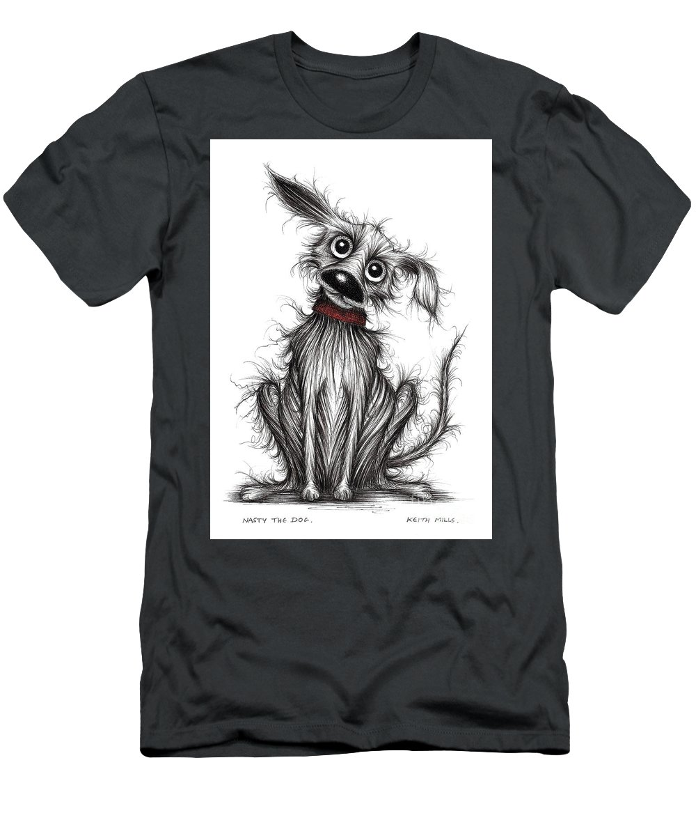 Nasty Dog Men's T-Shirt (Athletic Fit) featuring the drawing Nasty The Dog by Keith Mills