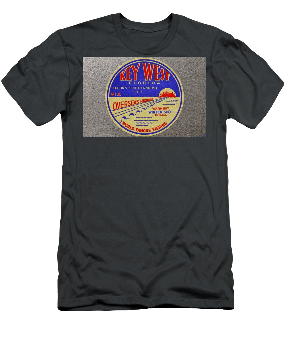 Art Men's T-Shirt (Athletic Fit) featuring the painting Nations Southernmost City by David Lee Thompson