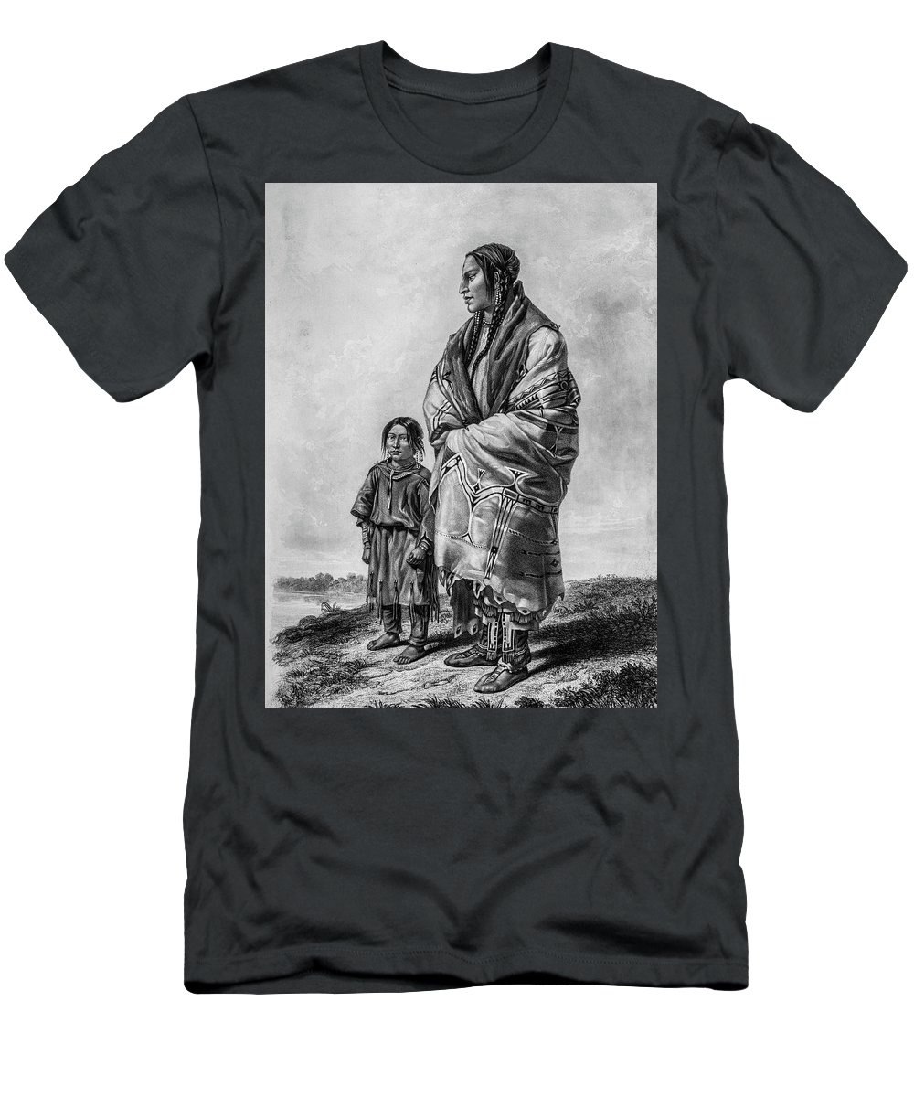 Bodmer Men's T-Shirt (Athletic Fit) featuring the photograph Native American Squaw And Child by Douglas Barnett