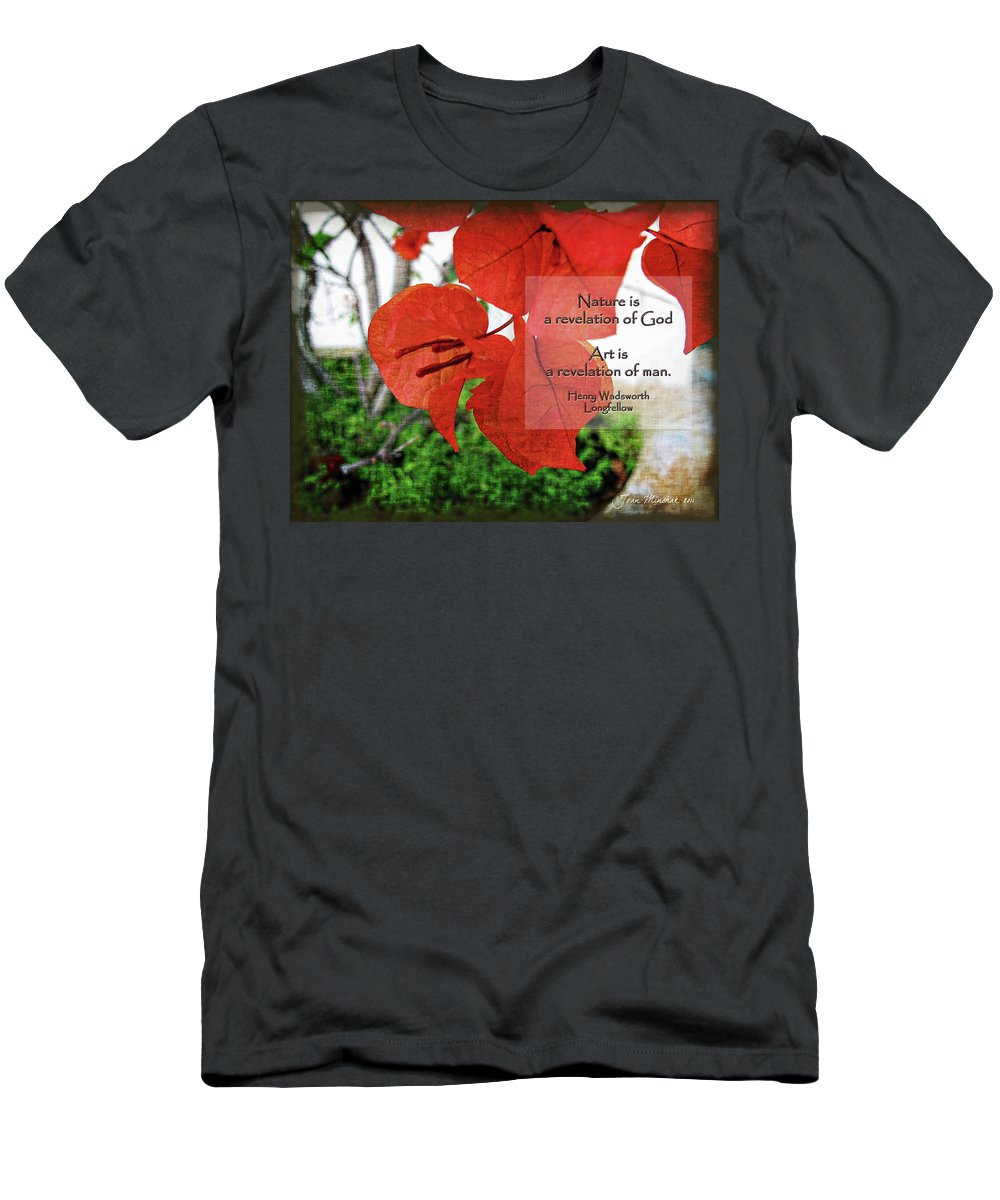 Nature Men's T-Shirt (Athletic Fit) featuring the digital art Nature Longfellow Quote by Joan Minchak