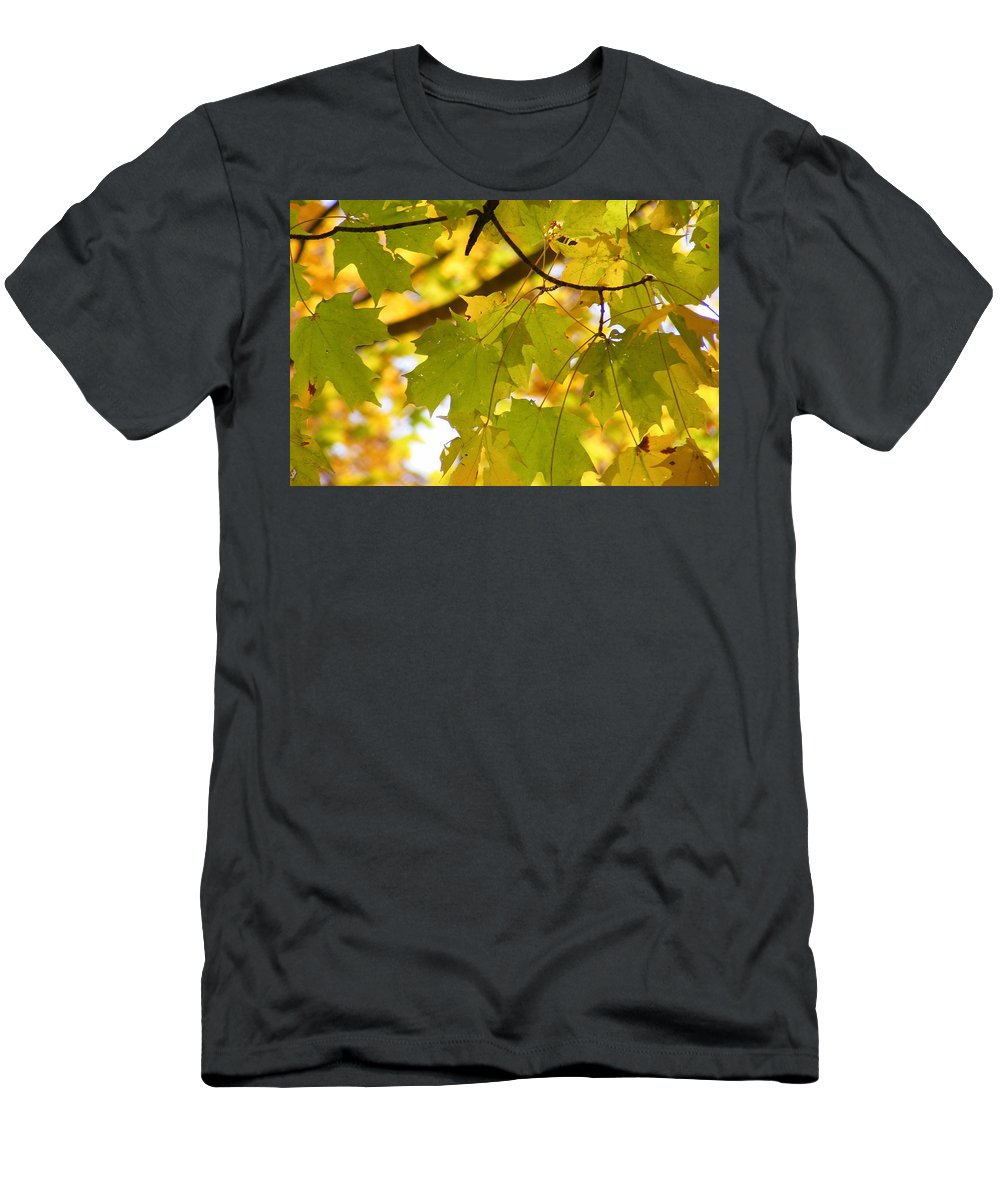 Leaves Men's T-Shirt (Athletic Fit) featuring the photograph Natures Glow by Ed Smith