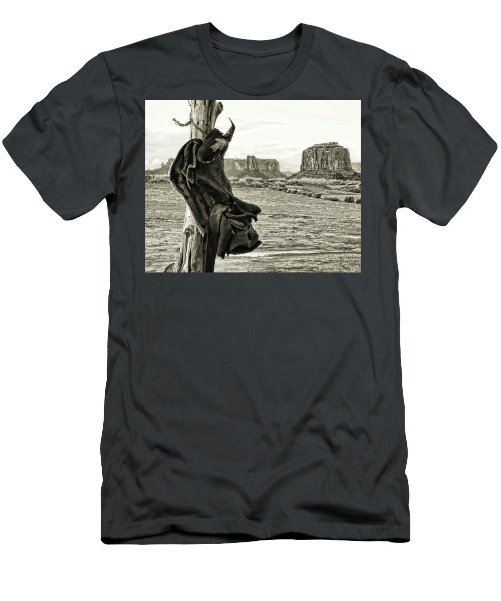 Western Men's T-Shirt (Athletic Fit) featuring the photograph Navajo Saddle by Sissy Schneiderman