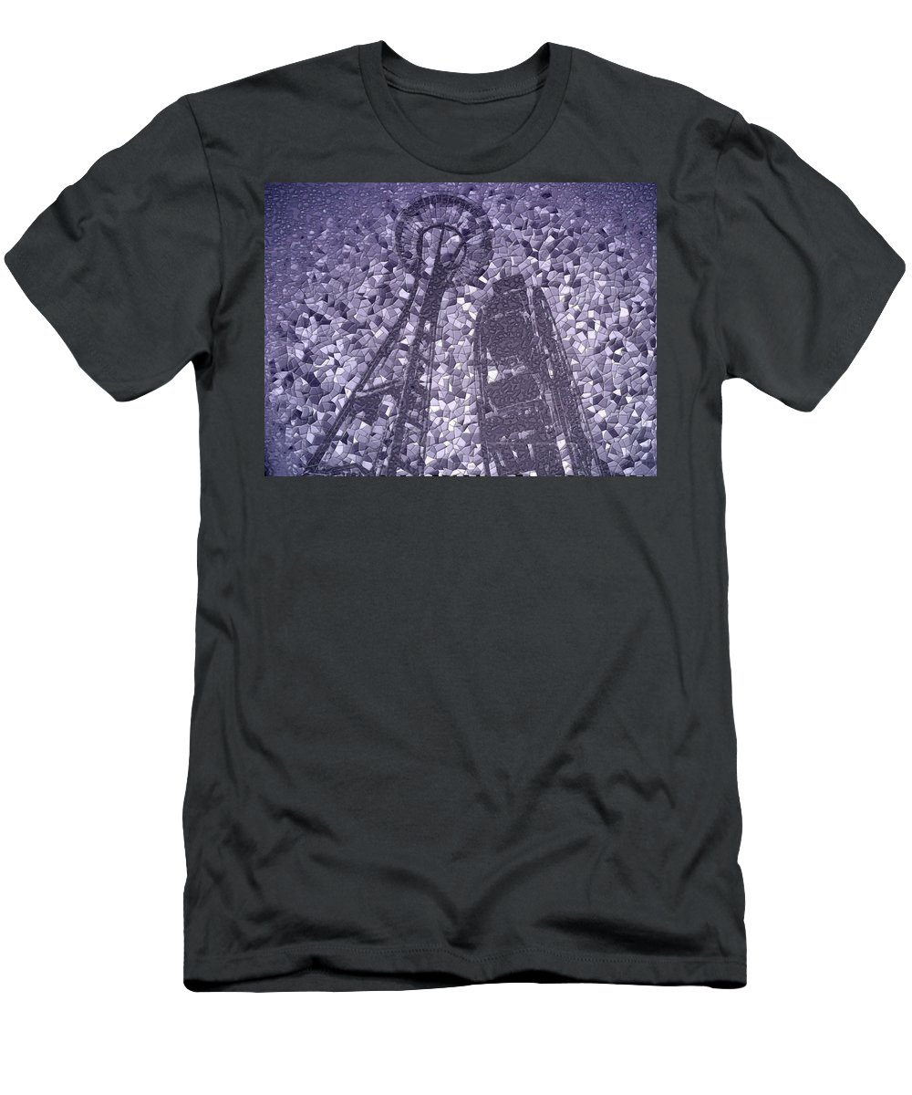 Seattle Men's T-Shirt (Athletic Fit) featuring the photograph Needle And Ferris Wheel Mosaic by Tim Allen