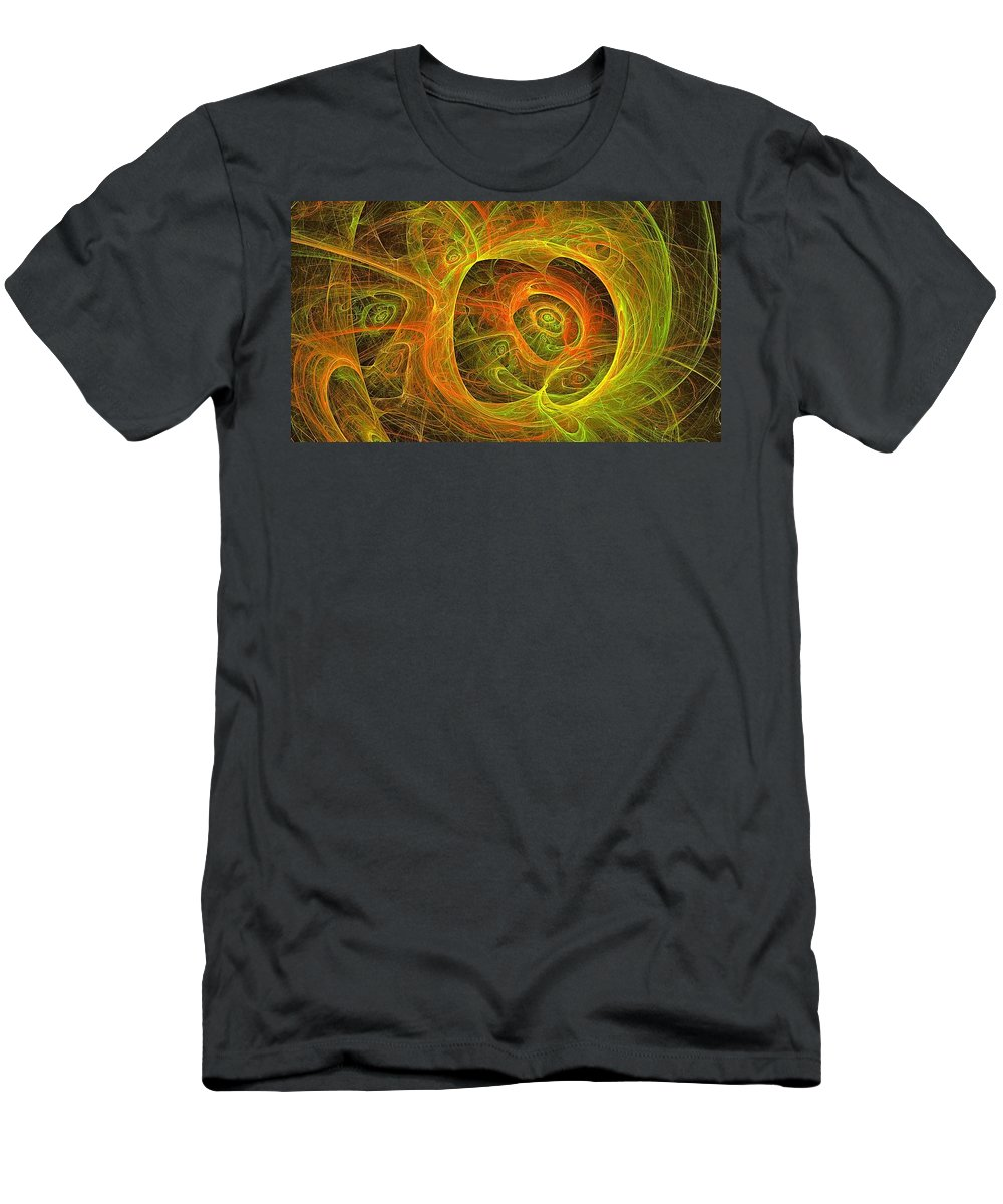 Fractal Abstract Men's T-Shirt (Athletic Fit) featuring the digital art Angelic Script Y G O by Doug Morgan