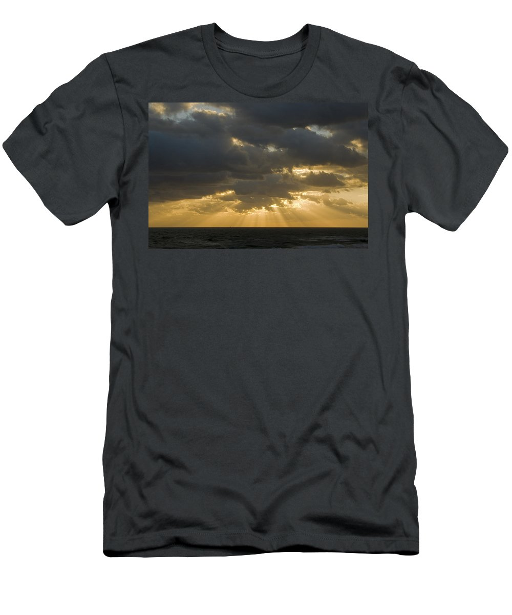 Ocean Sunset Sun Cloud Clouds Ray Rays Beam Beams Bright Wave Waves Water Sea Beach Golden Nature Men's T-Shirt (Athletic Fit) featuring the photograph New Beginning by Andrei Shliakhau