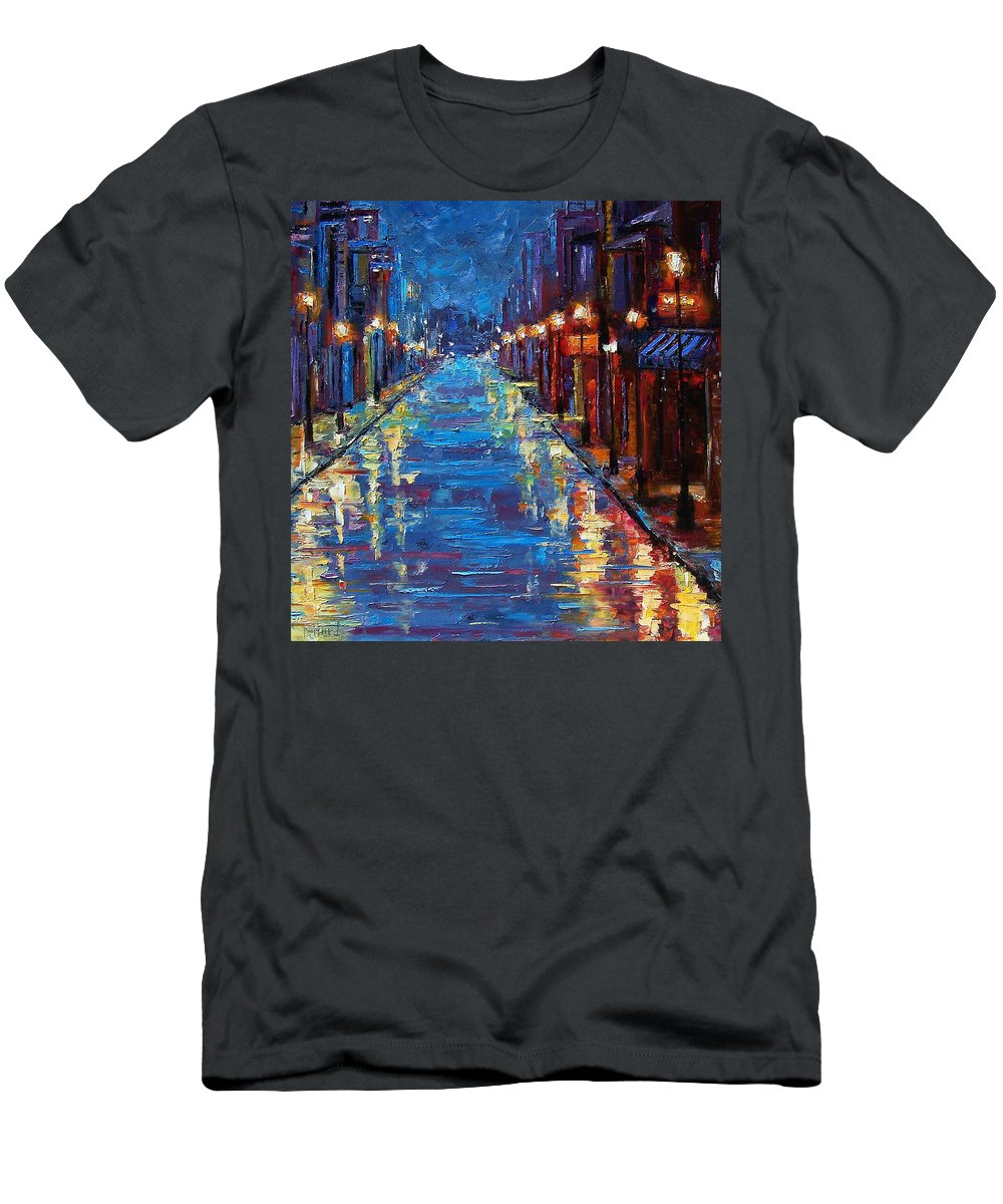 Cityscape Men's T-Shirt (Athletic Fit) featuring the painting New Orleans Bourbon Street by Debra Hurd