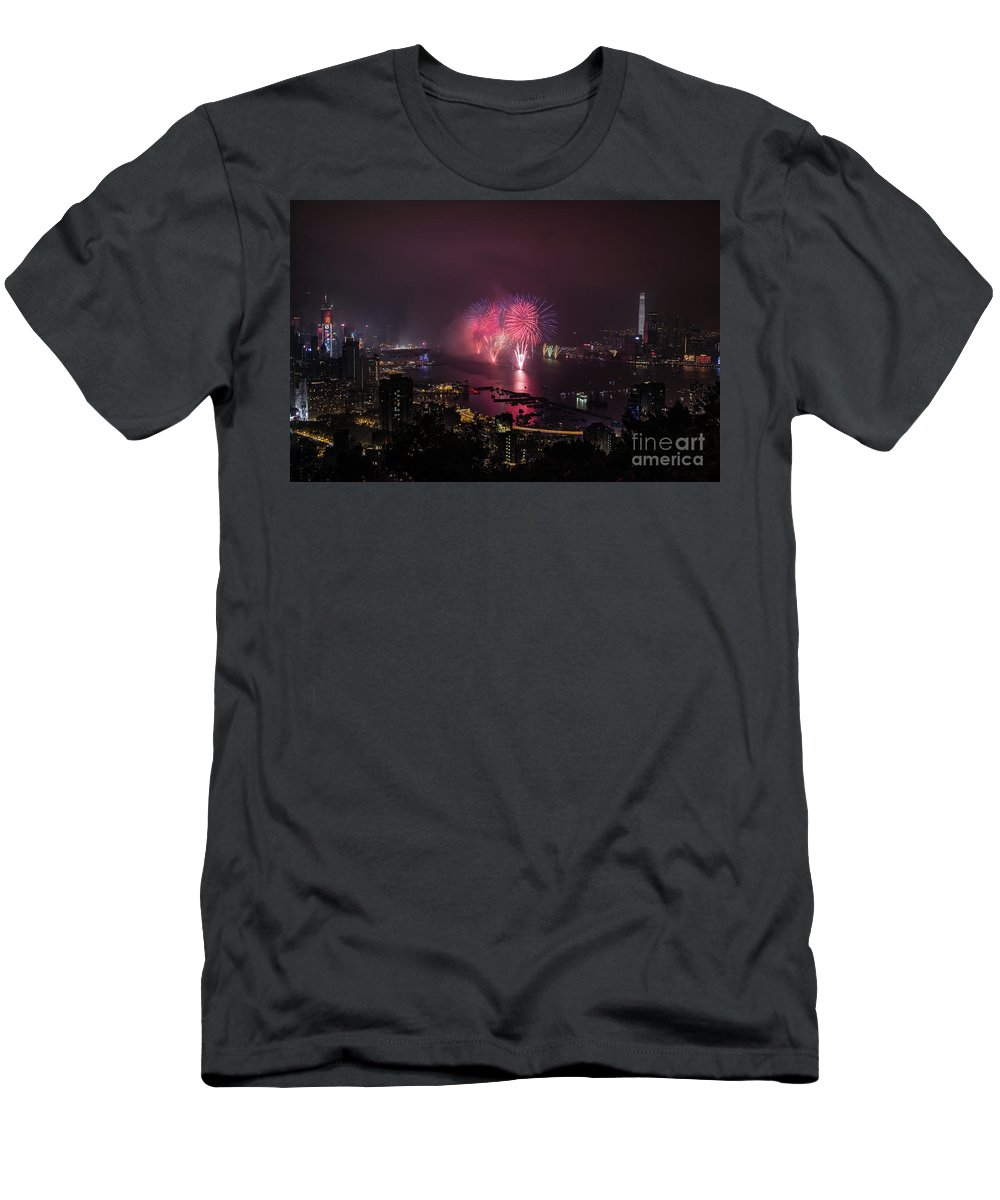 Fireworks Men's T-Shirt (Athletic Fit) featuring the photograph New Year's Eve Fireworks by Myroslav Dvornyk