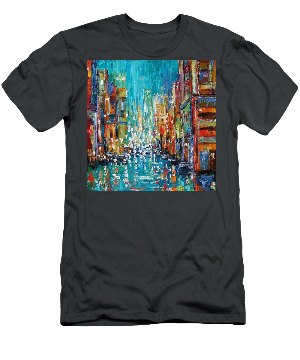 City Art Men's T-Shirt (Athletic Fit) featuring the painting New York City by Debra Hurd