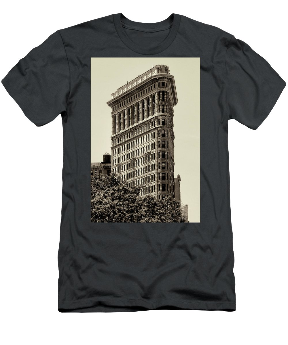 Flatirron Men's T-Shirt (Athletic Fit) featuring the photograph New York City - Flatiron In Sepia by Bill Cannon