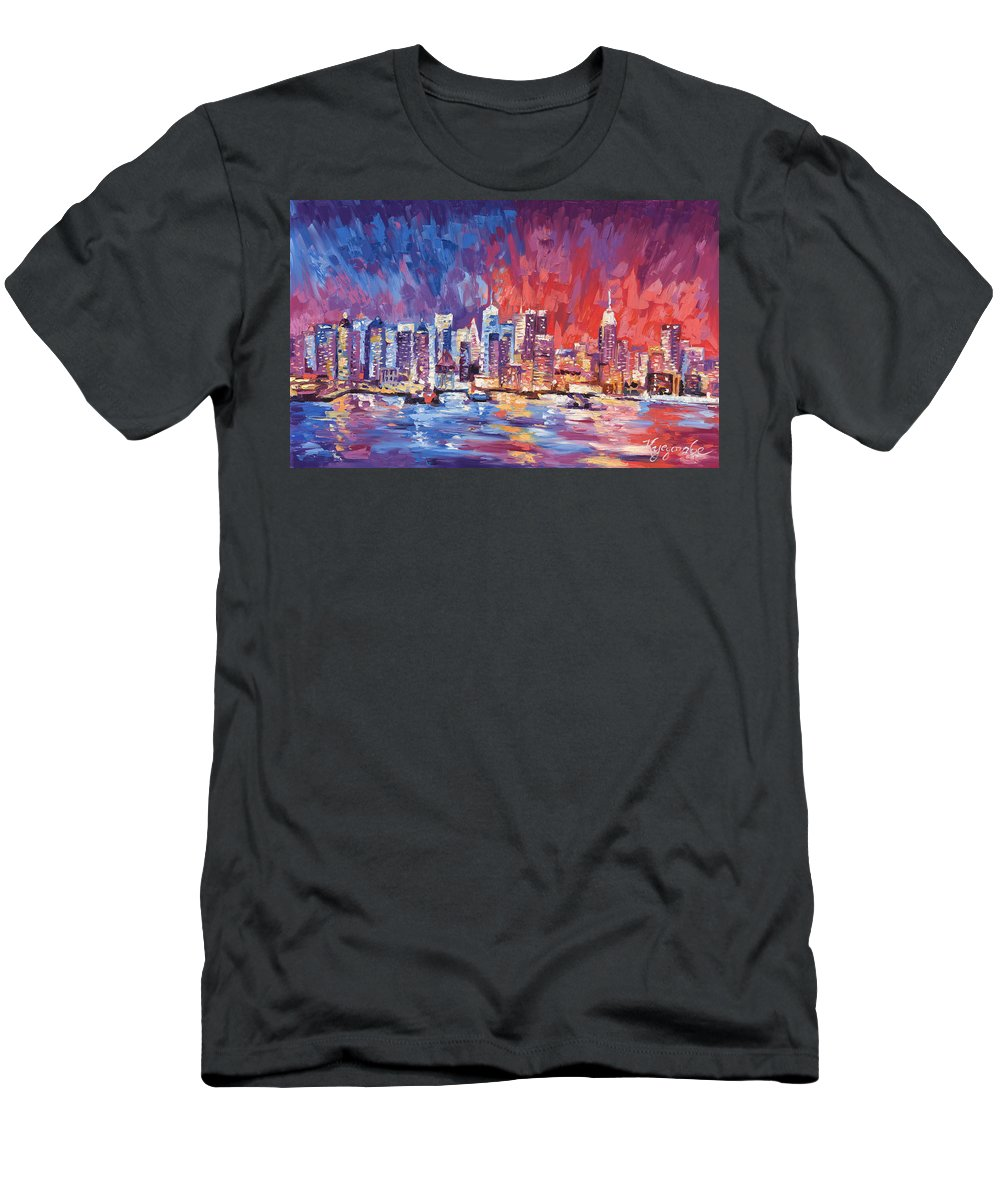 New York Skyline Men's T-Shirt (Athletic Fit) featuring the painting New York City Skyline 02 by Paul Kyegombe