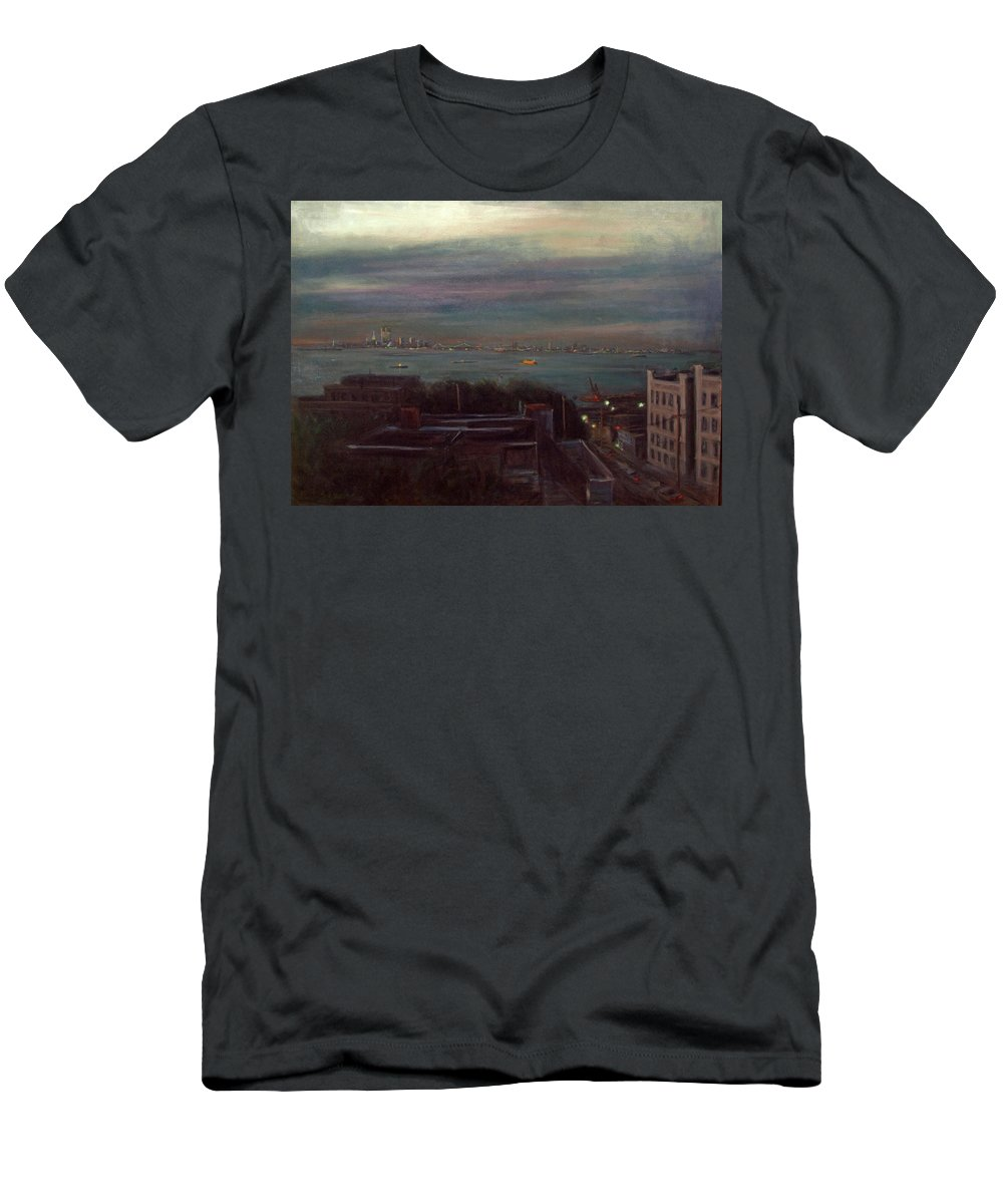 New York City Men's T-Shirt (Athletic Fit) featuring the painting New York Harbor by Sarah Yuster