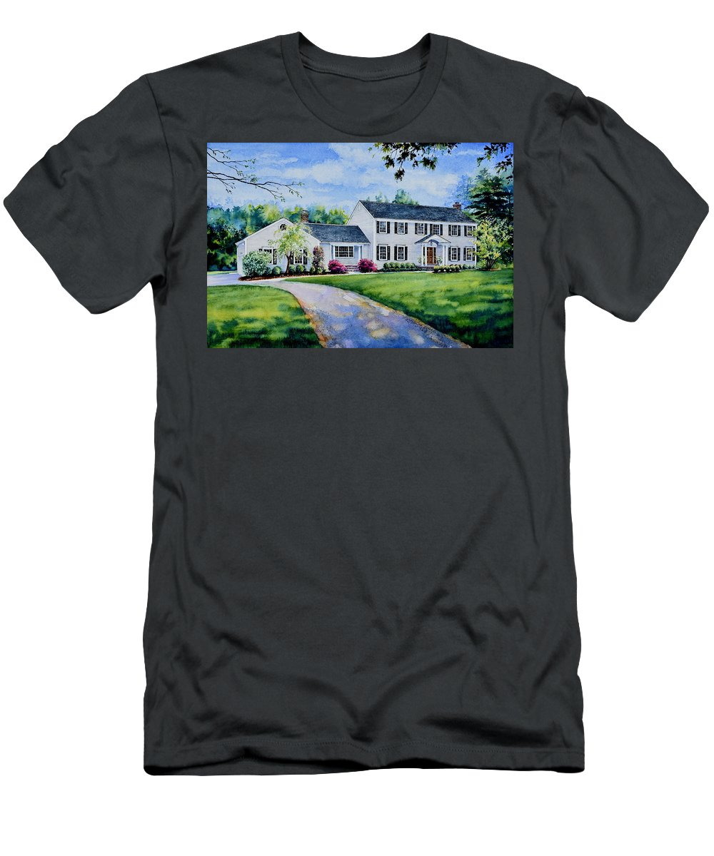 House Portraits Men's T-Shirt (Athletic Fit) featuring the painting New York Home Portrait by Hanne Lore Koehler