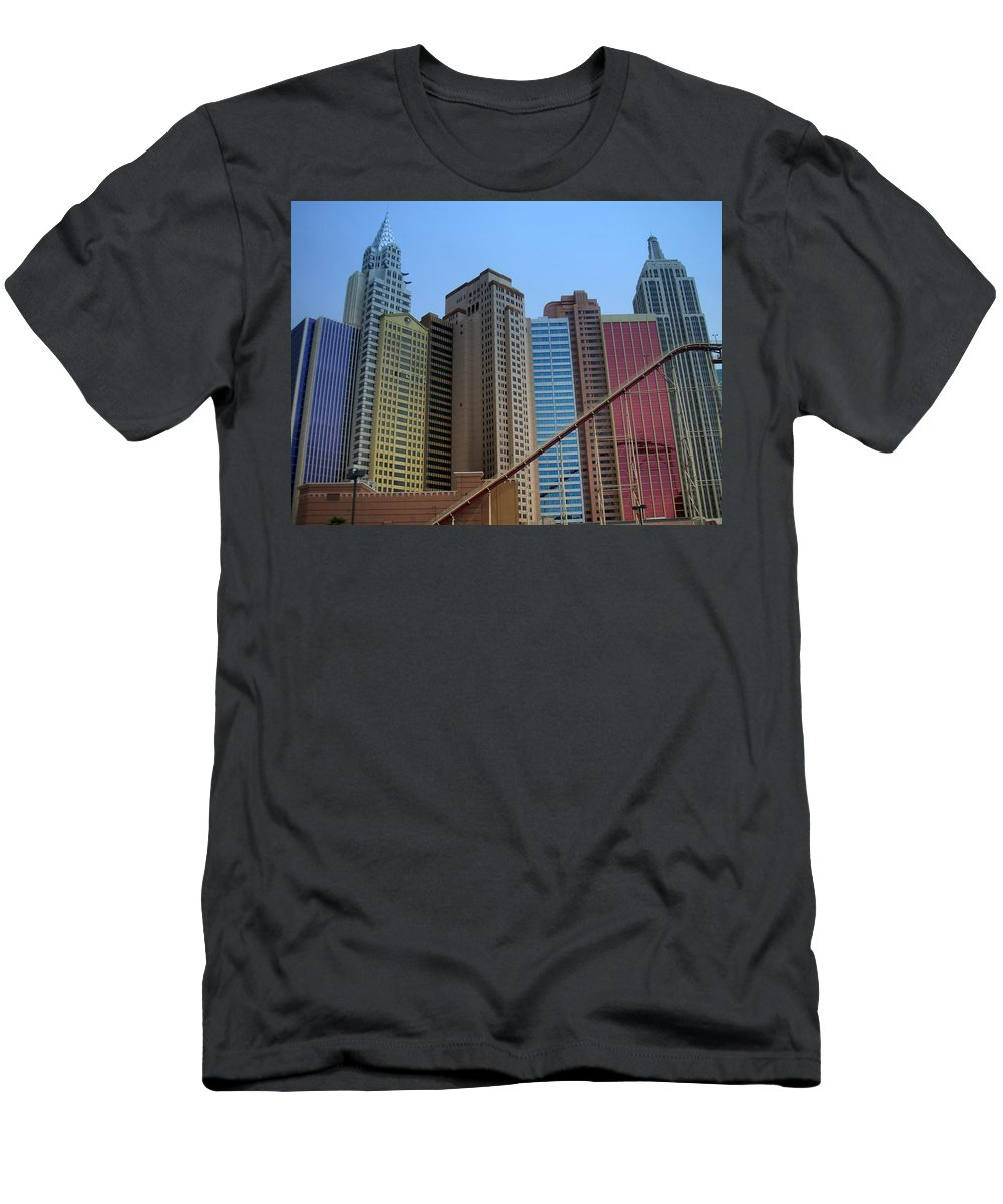 Vegas Men's T-Shirt (Athletic Fit) featuring the photograph New York Hotel by Anita Burgermeister