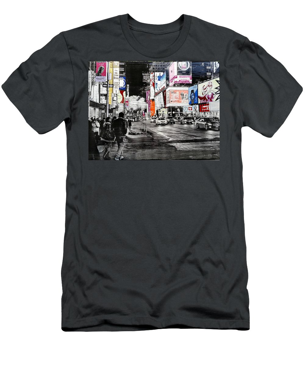 New York Men's T-Shirt (Athletic Fit) featuring the mixed media New York Night Life by VeroniKaH Grauby