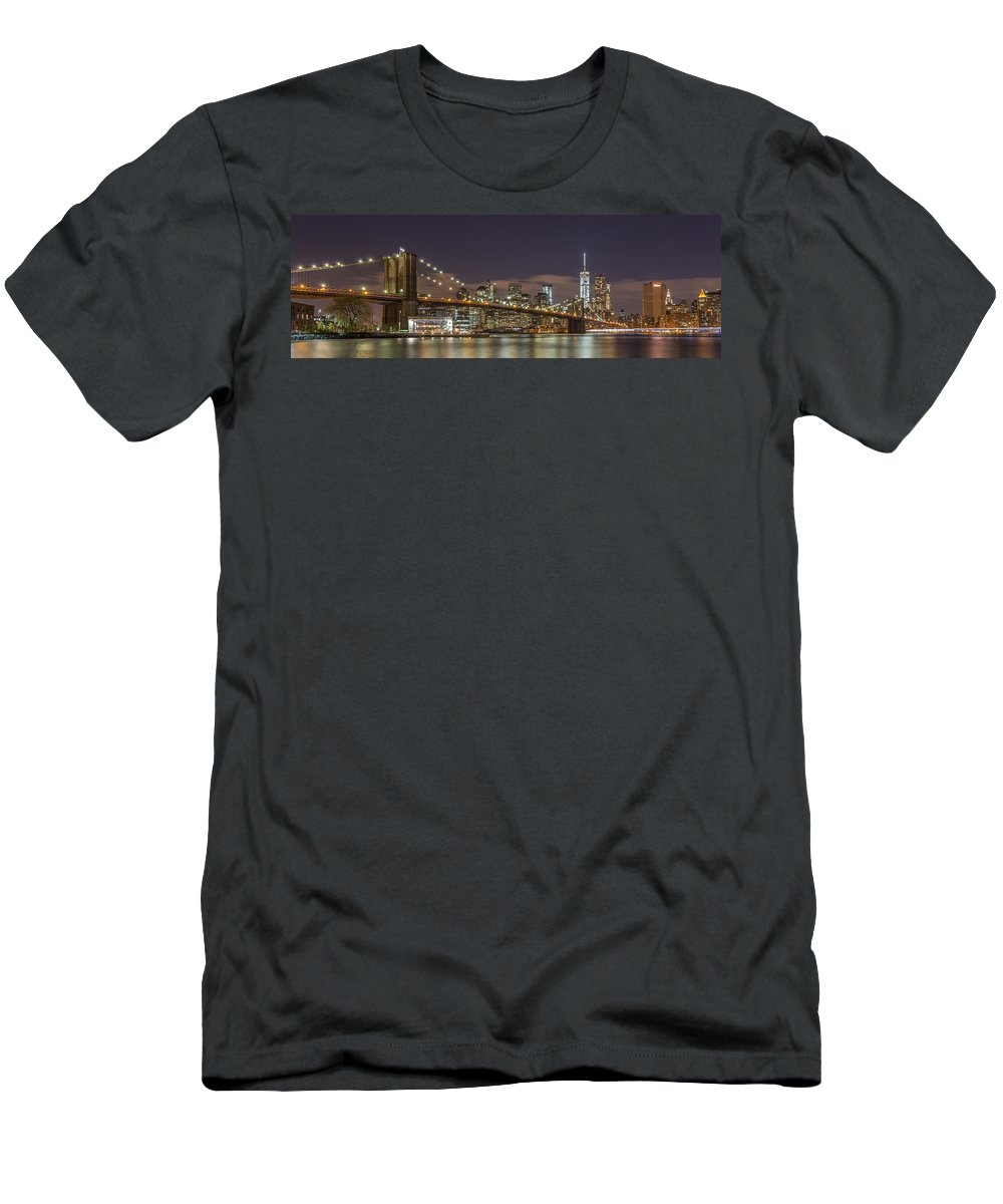 Architecture Men's T-Shirt (Athletic Fit) featuring the photograph New York Skyline - Brooklyn Bridge Panorama - 3 by Christian Tuk