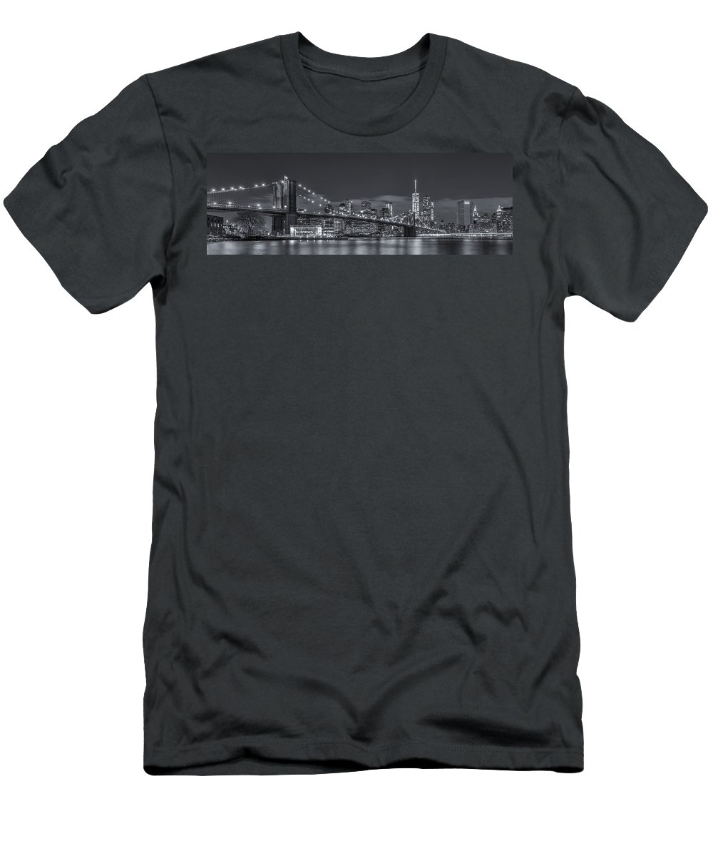 Architecture Men's T-Shirt (Athletic Fit) featuring the photograph New York Skyline - Brooklyn Bridge Panorama - 4 by Christian Tuk