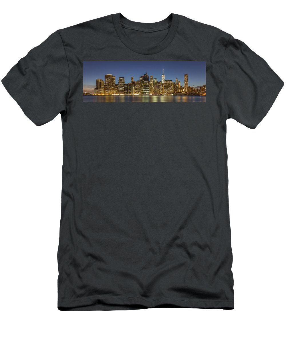 Architecture Men's T-Shirt (Athletic Fit) featuring the photograph New York Skyline Panorama - 2 by Christian Tuk