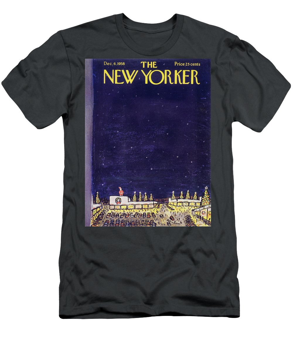 Christmas Men's T-Shirt (Athletic Fit) featuring the painting New Yorker December 6 1958 by Abe Birnbaum