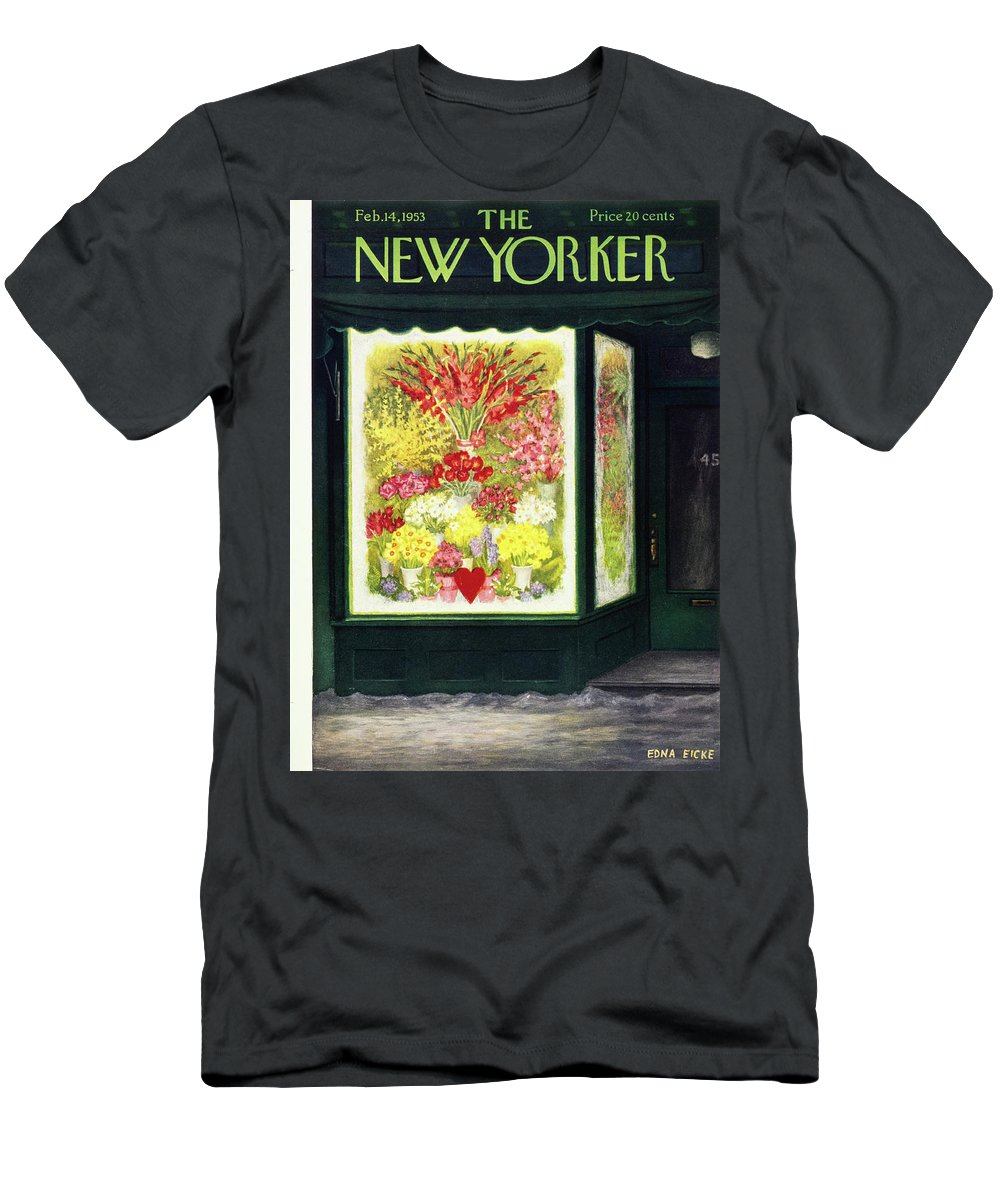 Flowers Men's T-Shirt (Athletic Fit) featuring the painting New Yorker February 14 1953 by Edna Eicke