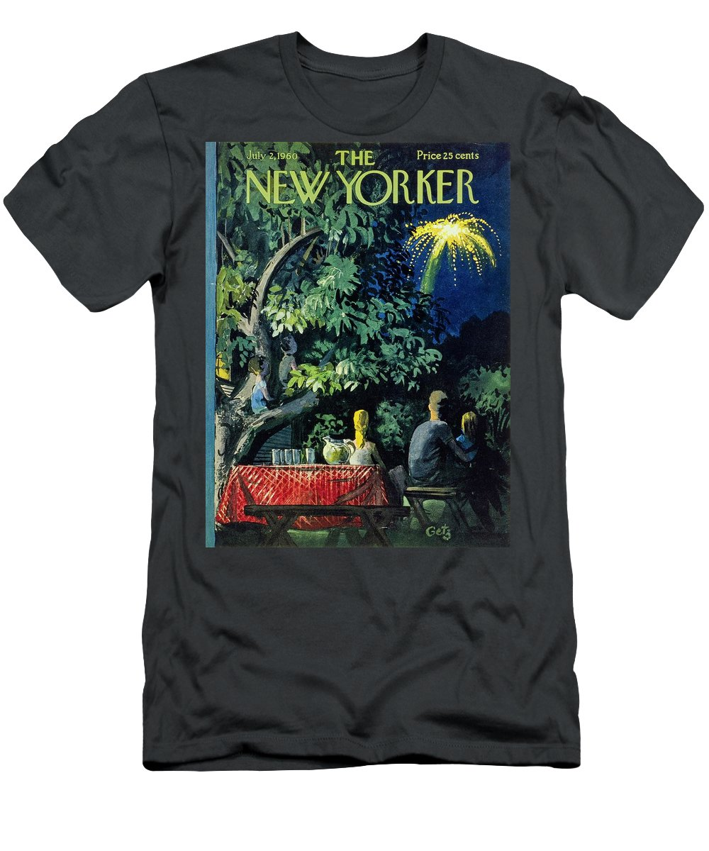 Illustration T-Shirt featuring the painting New Yorker July 2 1960 by Arthur Getz