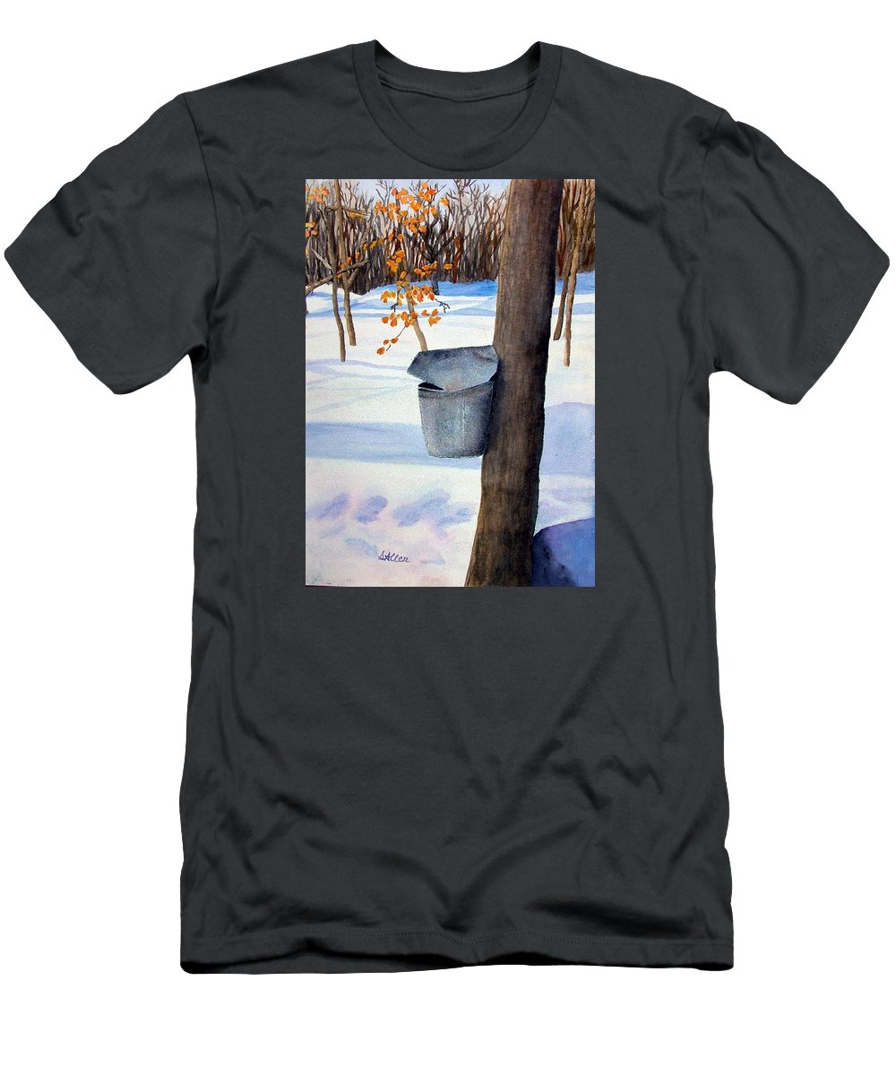 Sap Bucket. Maple Sugaring T-Shirt featuring the painting NH Goldmine by Sharon E Allen