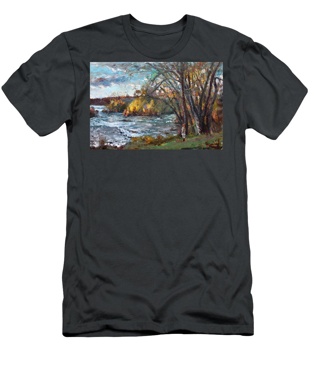 Niagara Falls Lake Men's T-Shirt (Athletic Fit) featuring the painting Niagara Falls Lake by Ylli Haruni