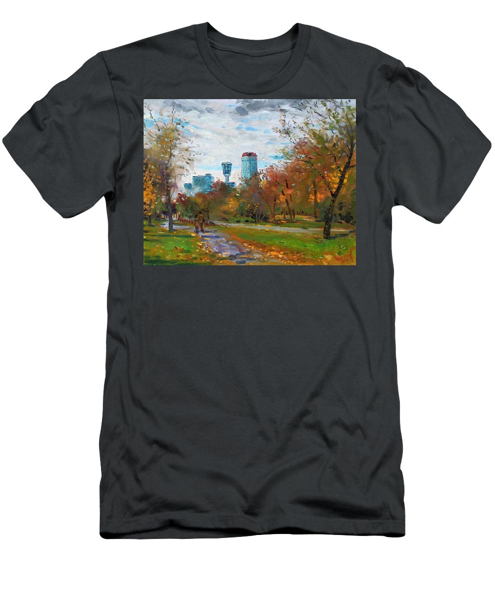 Niagara Falls Park Men's T-Shirt (Athletic Fit) featuring the painting Niagara Falls Park by Ylli Haruni