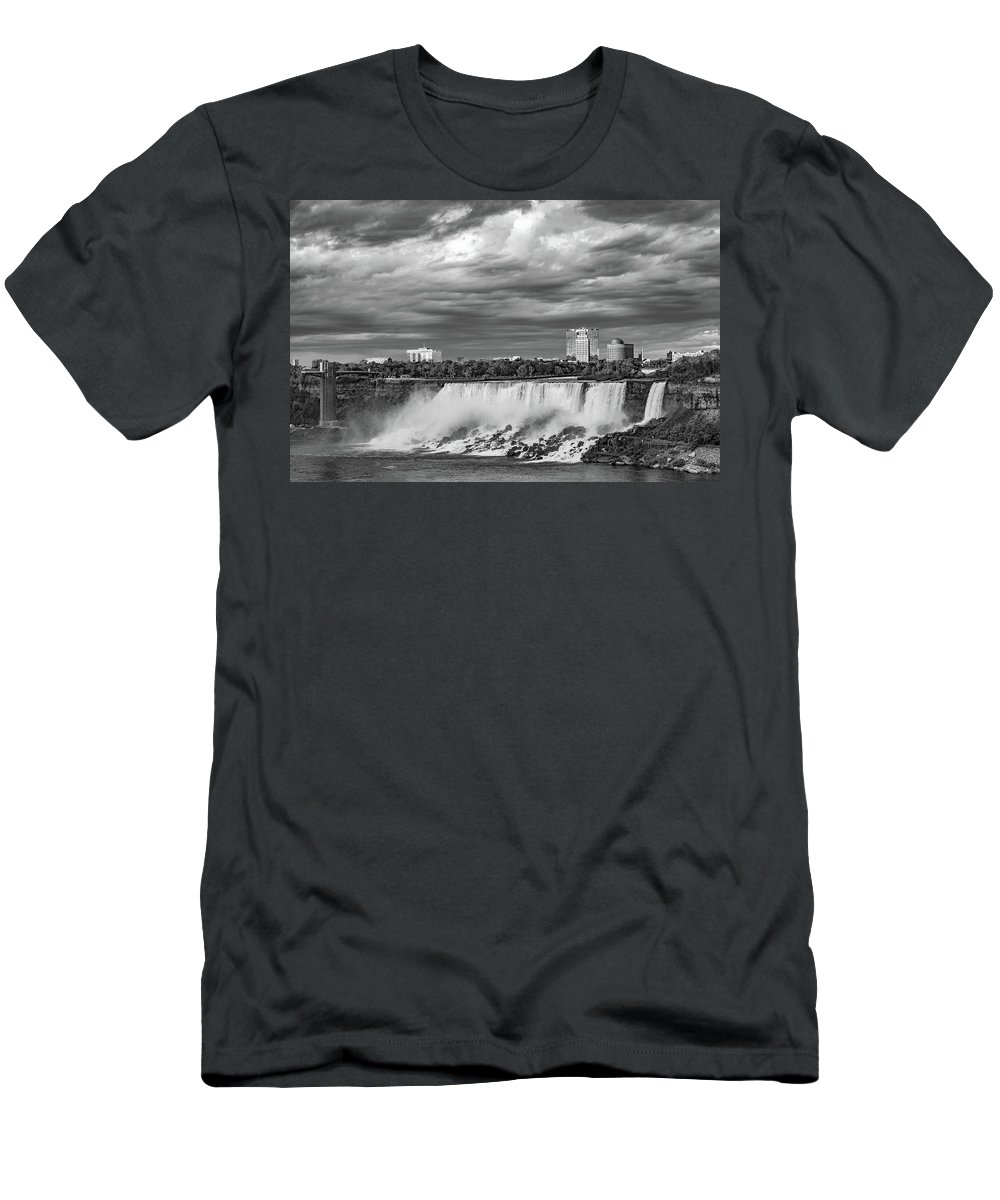 Niagara Falls Men's T-Shirt (Athletic Fit) featuring the photograph Niagara Falls - The American Side 3 Bw by Steve Harrington