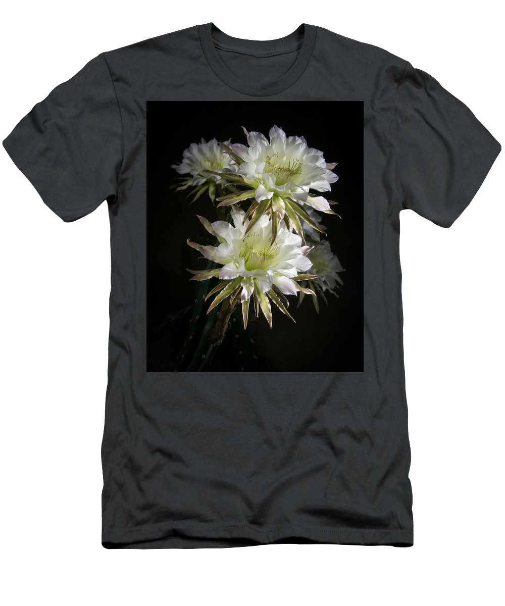 Harrisia Men's T-Shirt (Athletic Fit) featuring the photograph Night Bloomers 4.21 by Veronika Countryman