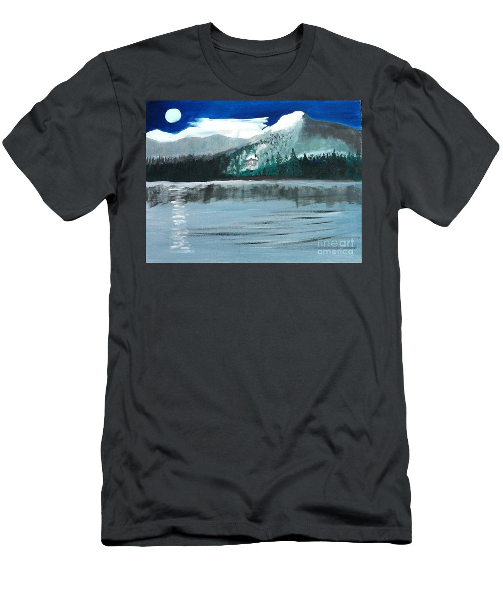 Moon Men's T-Shirt (Athletic Fit) featuring the painting Night By Moonlight by Rod Jellison