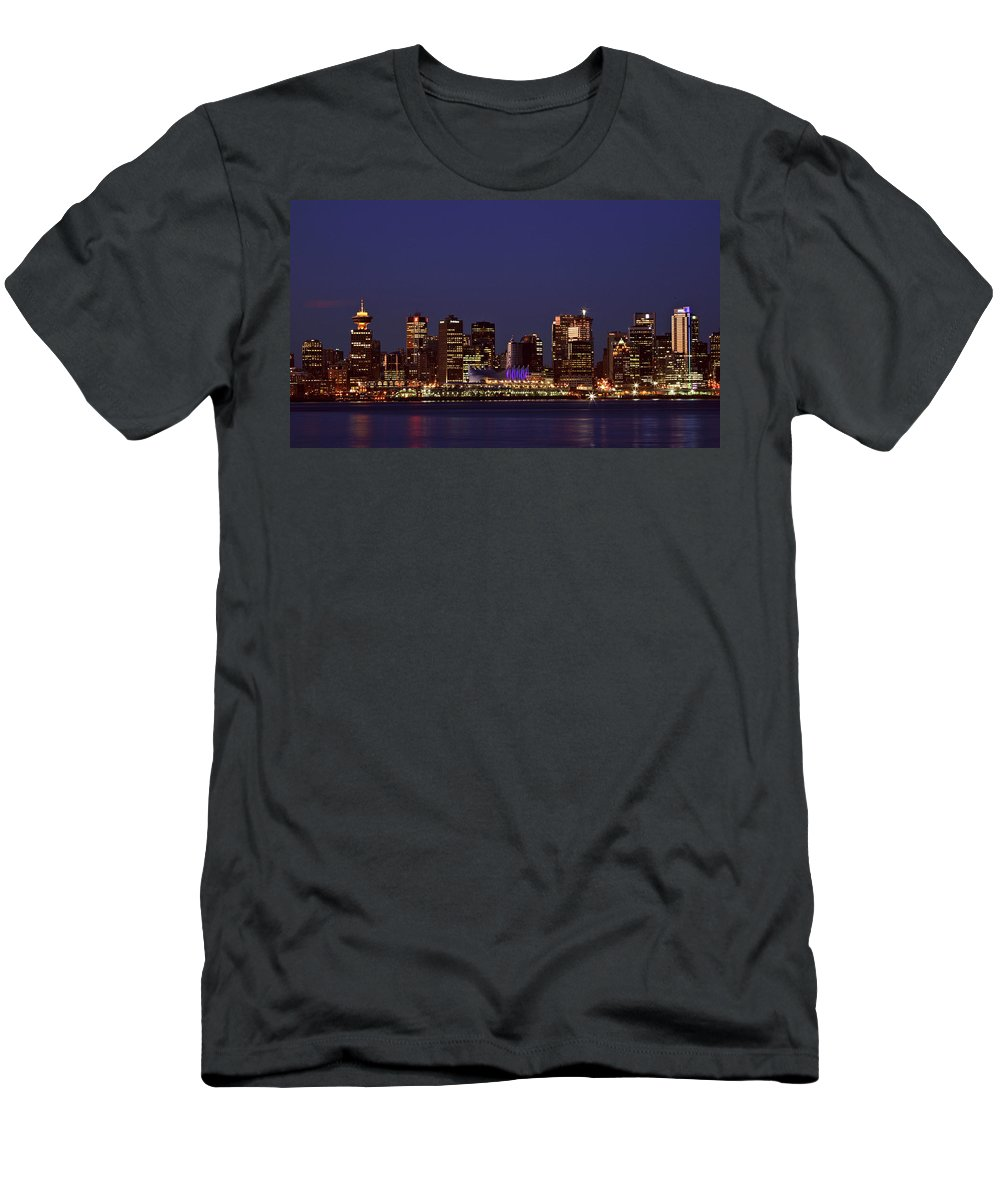 Night Men's T-Shirt (Athletic Fit) featuring the digital art Night Lights Of Downtown Vancouver by Mark Duffy