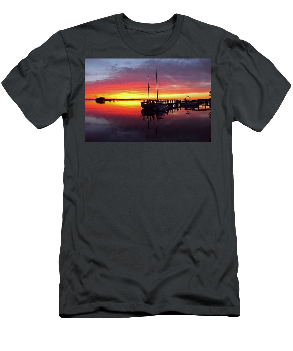 Sunset Men's T-Shirt (Athletic Fit) featuring the photograph Night Winds Woman by Michiale Schneider