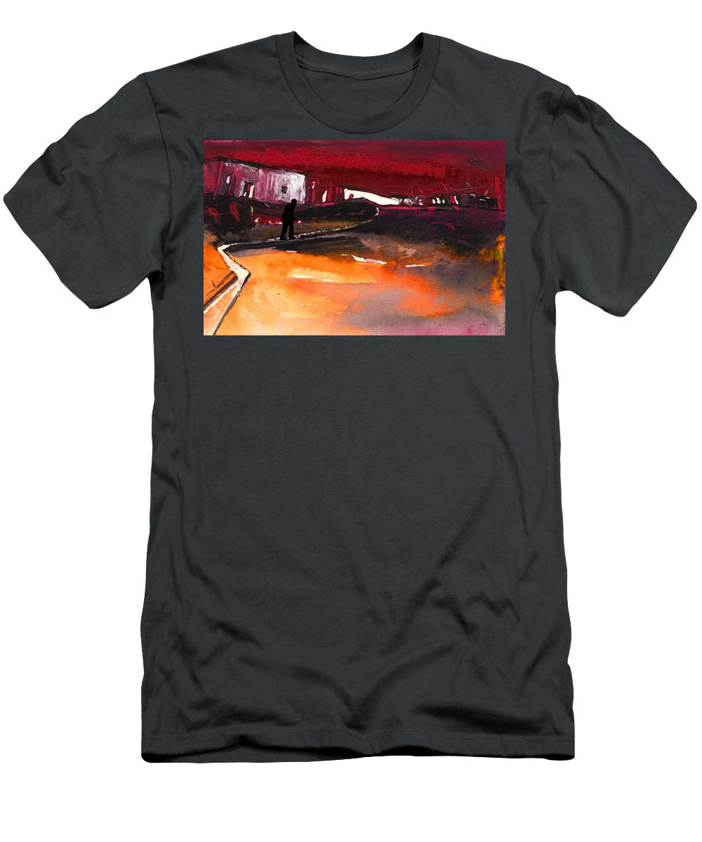Watercolour Landscape Men's T-Shirt (Athletic Fit) featuring the painting Nightfall 12 by Miki De Goodaboom