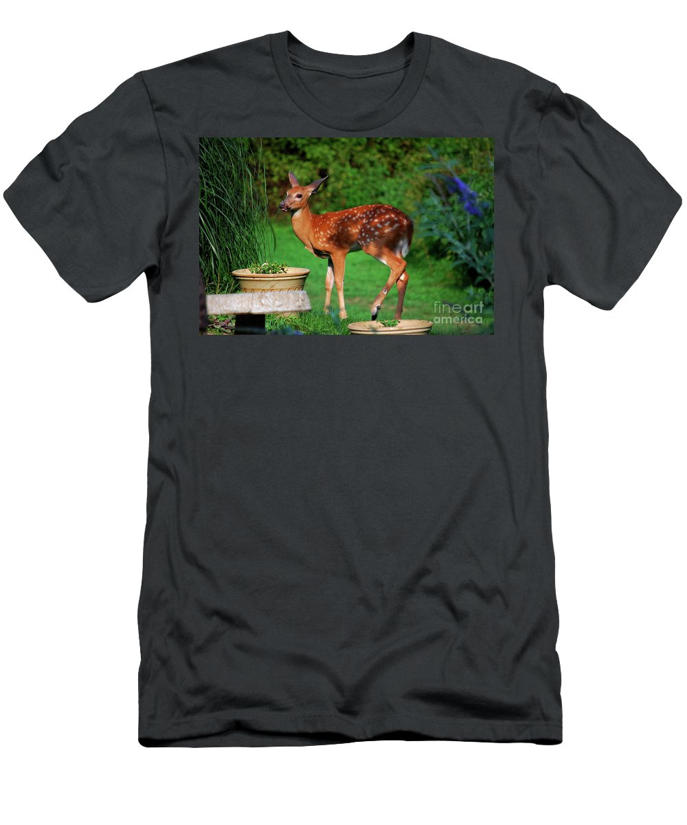 Fawn Men's T-Shirt (Athletic Fit) featuring the photograph No I'm Not Bambi by Lori Tambakis