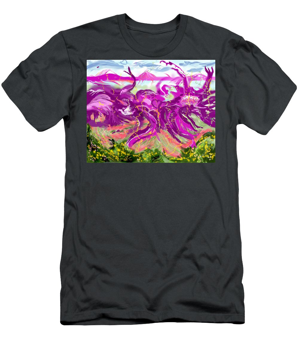 Abstract   Imaginary Seascape Purple T-Shirt featuring the digital art No LSD Involved by Suzanne Udell Levinger