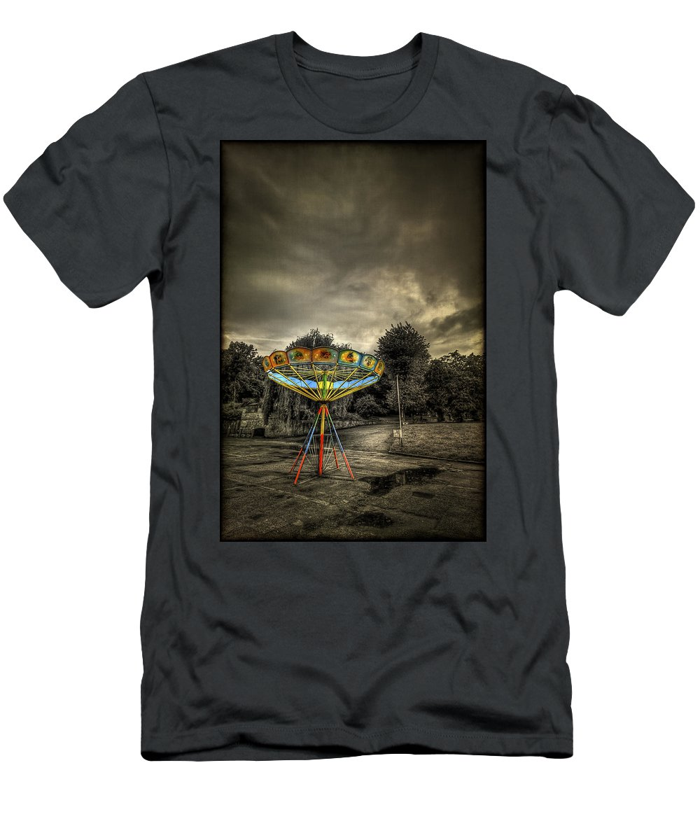 Carousel Men's T-Shirt (Athletic Fit) featuring the photograph No More Rides by Evelina Kremsdorf