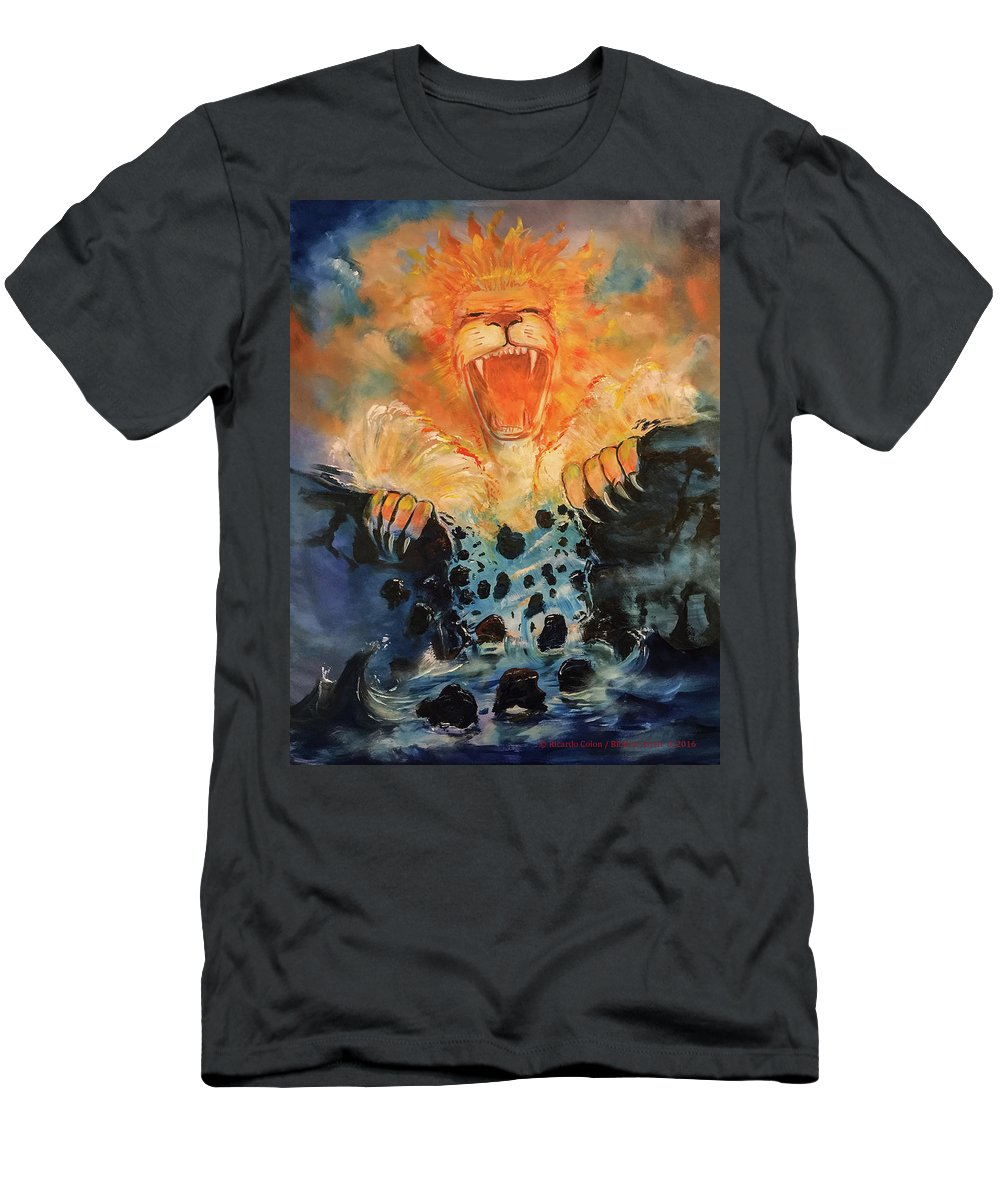 Lion Men's T-Shirt (Athletic Fit) featuring the painting No More Walls by Ricardo Colon