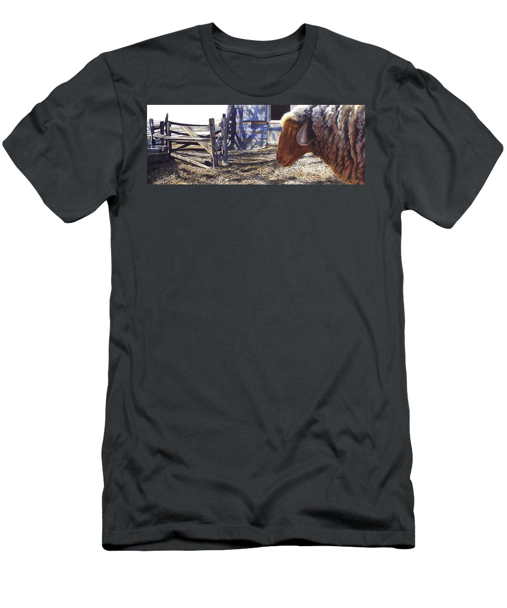 Farm Men's T-Shirt (Athletic Fit) featuring the painting No Place Like Home by Denny Bond