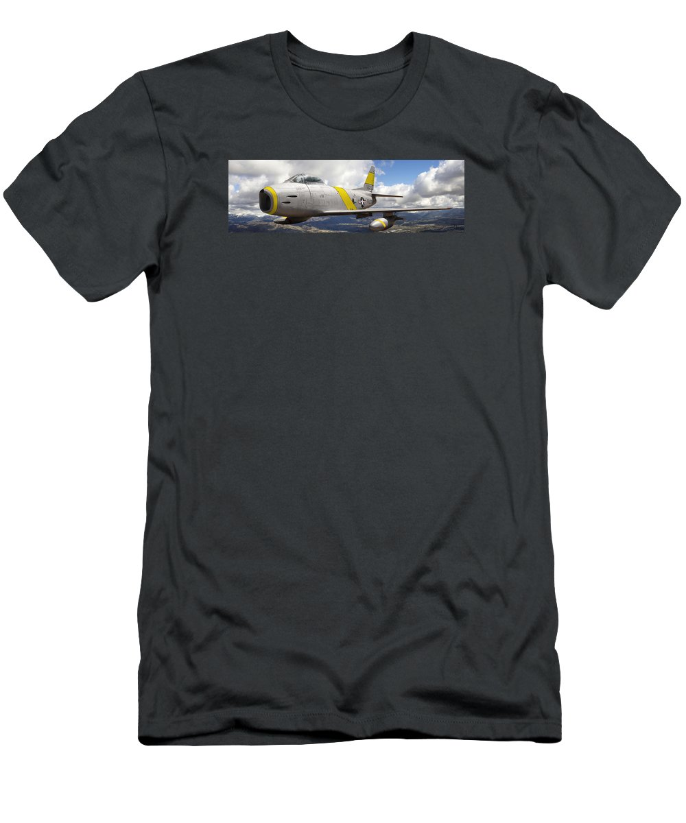 F-86 Sabre Men's T-Shirt (Athletic Fit) featuring the photograph North American F-86 Sabre by Larry McManus