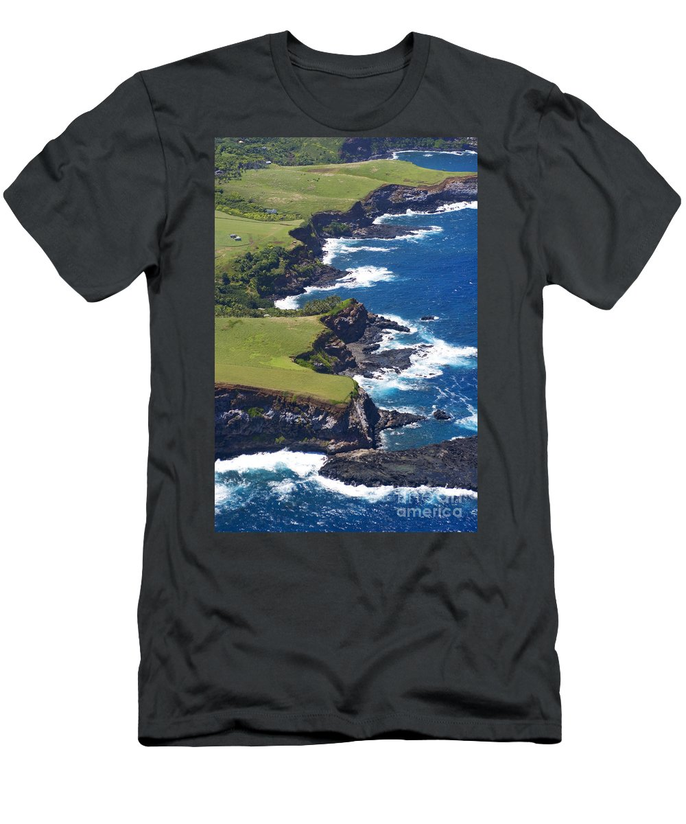 Aerial Men's T-Shirt (Athletic Fit) featuring the photograph North Coast Of Maui by Ron Dahlquist - Printscapes